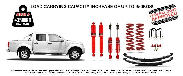 Nissan Navara D40 GVM Upgrade Kits   Pedders Suspenion and